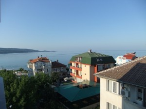 A view from our hotel of the Bulgarian coastal town Primorsko.